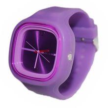 YCYS-New Unisex Women Ladies Purple Jelly Silicone Quartz Ports Wrist Watch