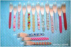 16 modelos de tenedores de madera decorados (16 cms) pedidos y catálogo: detallisime@yahoo.es