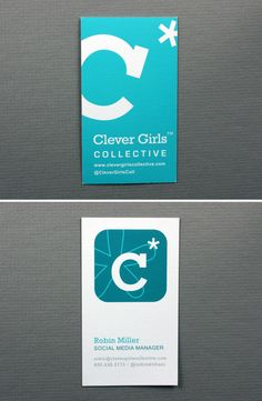 Clever Girls Collective / Robin Miller  www.clevergirlscollective.com Web Business, Unique Business Cards, Business Design, Brand Identity Design, Branding Design, Business Card Design Inspiration, Letterpress Business Cards, Name Cards, Creative Cards