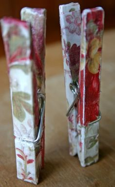 Organize your papers with DIY decorative clothespins.