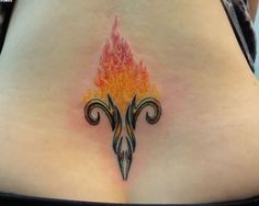 Flaming Aries Symbol Tattoo On Lower Back