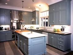 Country Kitchen Blue Cabinets Pictures