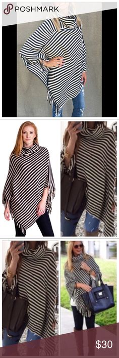 🆕 Black Stripe Asymmetrical Cowl Neck Poncho 🆕 Black Stripe Asymmetrical Cowl Neck Poncho . 100% Acrylic. One Size. Price is firm unless bundled. Haute Ellie Sweaters Shrugs & Ponchos