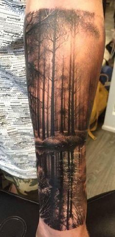 Forest Tattoo Sleeve, Nature Tattoo Sleeve, Wolf Tattoo Sleeve, Tattoo Sleeve Designs, Tattoo Sleeves, Forarm Tattoos, Cool Forearm Tattoos, Time Tattoos, Body Art Tattoos