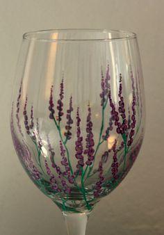 Lavender Fields Hand Painted Wine Glass by NewHopeElizabeth, $20.00