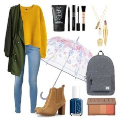 """""""Rainy Days - Back To School Outfit #7"""" by bunas ❤ liked on Polyvore featuring Vera Bradley, 7 For All Mankind, H&M, Privileged, Tory Burch, Herschel Supply Co., Essie, NARS Cosmetics, Christian Louboutin and Urban Decay"""