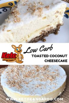 """This is one of the best desserts, and cheesecakes, that I have had. I don't mean it's the best """"keto"""" cheesecake, I mean it's literally one of the best desserts I've ever had. Low Carb Recipe Books, Low Carb Recipes, Healthy Recipes, Ketogenic Food List, Ketogenic Recipes, Coconut Cheesecake, Cheesecake Recipes, Cheesecake Cookies, Patisserie Sans Gluten"""