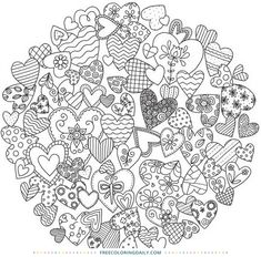 The Coloring Cafe Coloring Books Heart Coloring Pages, Pattern Coloring Pages, Printable Adult Coloring Pages, Colouring Pages, Free Coloring, Coloring Sheets, Coloring Books, Doodle Patterns, Zentangle Patterns