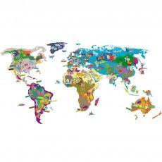 Sticker Weltkarte bunt