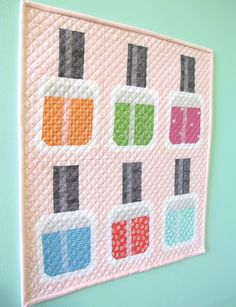 Bee In My Bonnet: Nail Polish Mini Quilt - Free Pattern and Tutorial!!!