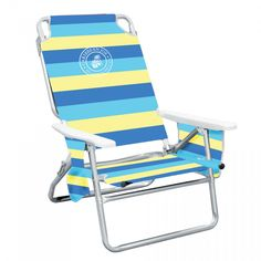 Caribbean Joe 5 Position Folding Beach Chair With Carrying Strap Pocket Organizer Head Rest Pillow Cup Holder Blue