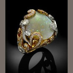 Fossil Clamshell Crystal Opal Diamond 18k Gold Ring