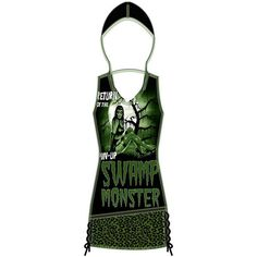 HADLEY HOODED TANK - PINUP SWAMP MONSTER TooFast Clothing Punk Rock... ($45) ❤ liked on Polyvore featuring tops, dresses, green and shirts