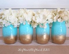 Baby Shower Mason Jar Centerpieces, Ombre Mason Jars, Baby Teal and Gold, Painted Ball Jars, Table Decorations, Gold Mason Jars, (Jars Only)