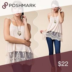 Lace Bottom Tank Flowy, peach/cream top with lace bottom Tops Blouses