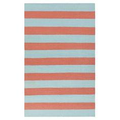 The Draper Stripe Azure  and  Coral Rug at DwellStudio.