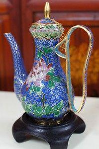 70s A+ Vintage Chinese Cloisonne Art Tea Pot Bronze Enamel | eBay
