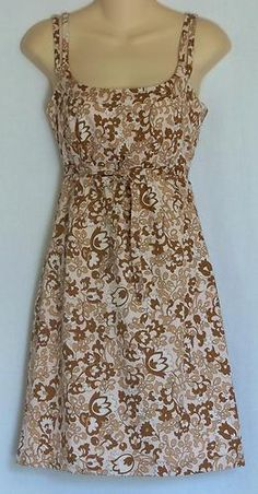 Odille Anthropologie Pink Brown Floral Tie Front Cotton Dress 2 XS | eBay