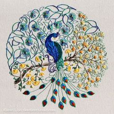 Coloring book embroidery - a gorgeous peacock! Click through for all the stitching tips!