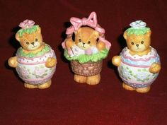 Lucy & Me EASTER Bear Figurines - Pink Flower Egg, Blue Flower Egg, and Basket