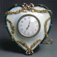 Table clock. St. Petersburg, 1896-1903. Fabergé Studio Master M. Perchin. Gold, silver, platinum, diamonds, pearls and enamel on quilloche.