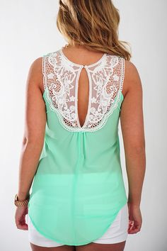 Fall From Lace Top: Spearmint - Use the promo code HOLLIREP to get 10% off of every order plus get FREE SHIPPING always!