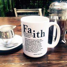 """The Faith Coffee Mug has the dictionary definition of the word """"Faith"""" it also…"""