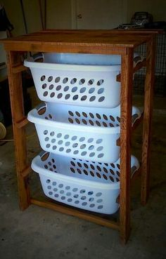 Laundry organizer Laundry Organizer, Storage Organization, Crate Shelves, Plastic Laundry Basket, Future House, Woodworking Plans, Laundry Room, Crates, Shelf