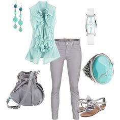 Grey and Turquoise, created by ashlee470