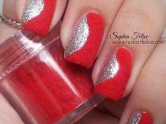 Unghie Decorate: per natale idea unghie con effetto velluto fuzzy nails - Nail Art Felice by Sophia