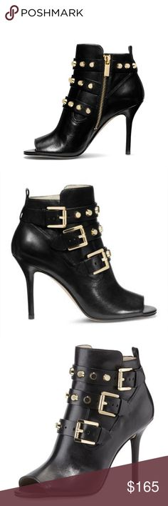 Michael Kors Bryn Open Toe Booties I fell in love with these gorgeous gold studded, leather booties at first sight, but they have been sitting in my closet collecting dust for over a year!  They have never been worn and are in excellent condition.  Last two pics are of the actual booties.  Open to reasonable offers. Michael Kors Shoes Ankle Boots & Booties