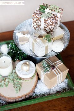 Christmas Vignette Decorating   Neutral Natural Green White Brown