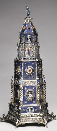 A LAPIS LAZULI CLOCK TOWER WITH ENAMELLED PEARL-SET SILVER-GILT MOUNTS, HERMANN BÖHM, VIENNA, CIRCA1880