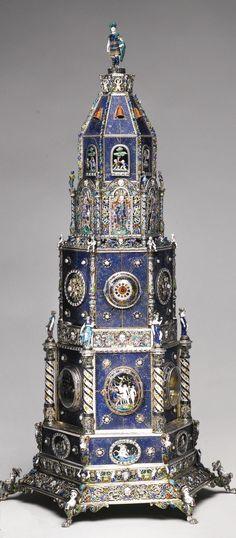 A LAPIS LAZULI CLOCK TOWER WITH ENAMELLED PEARL-SET SILVER-GILT MOUNTS, HERMANN BÖHM, VIENNA, CIRCA1880