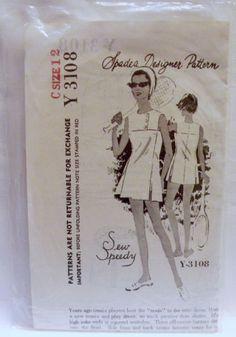 Vintage-1960s-Spadea-Designer-Y-3108-Tennis-Dress-Pattern-Size-12-Unused