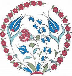 Elegant vector motif of beautiful Iznik style tulips, traditional Turkish-Ottoman art Stock Photo - 23394027