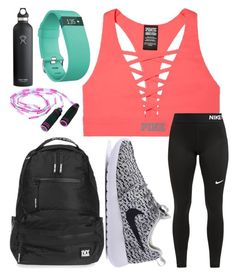 """Workout "" by jadenriley21 on Polyvore featuring Hydro Flask, Victoria's Secret, Topshop, NIKE and Fitbit"
