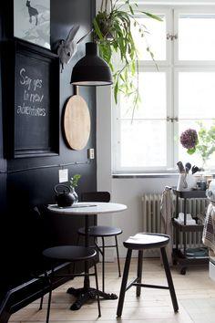 black dining nook kitchen
