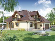Projekat atraktivne kuće s potkrovljem i garažom – Svetonius House Architecture Styles, Architecture Design, Beautiful Home Designs, Beautiful Homes, Storey Homes, Modern House Plans, Home Fashion, Little Houses, Future House
