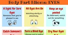Useful EYE Idioms in English with meaning and examples. Learn more with list of commonly used face Idioms in English. Learn English For Free, Improve Your English, English Idioms, English Vocabulary, Idiomatic Expressions, Blind Eyes, Sore Eyes, Ielts, All About Eyes