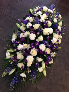 Blue and white casket sprays Casket Flowers, Grave Flowers, Cemetery Flowers, Funeral Flowers, Wedding Flowers, Funeral Floral Arrangements, Church Flower Arrangements, Beautiful Flower Arrangements, Funeral Caskets