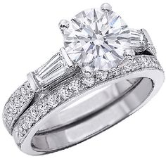 Round Diamond Engagement Ring with Bar Set Baguette & Pave Set Round Cut Diamonds with a Matching Pave Set Wedding Band