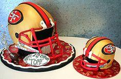 49ers Helmets  Cake as 49er football helmets