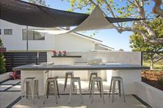 Modern Outdoor Kitchen, Shade Sails  Outdoor Kitchen  DC West Construction Inc.  Carlsbad, CA
