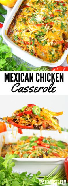 Mexican Chicken Casserole = everything you want in a weeknight recipe: quick, easy and delicious!  With lean chicken, healthy veggies, and perfectly balanced zesty flavor… this one pan meal will definitely be making a regular dinner time appearance!  https://tasteandsee.com via @h_tasteandsee