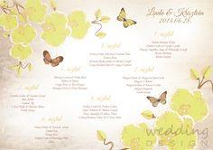 Seating plan with yellow orchids and butterflies by Wedding Design - Ülésrend sárga orchideákkal és pillangókkal a Wedding Designtól