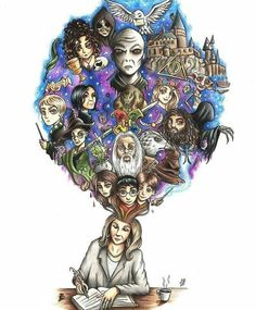 K Rowling writing Harry Potter series Fanart Harry Potter, Rowling Harry Potter, Harry Potter Tumblr, Harry Potter World, Magie Harry Potter, Arte Do Harry Potter, Harry Potter Artwork, Harry Potter Drawings, Harry Potter Pictures