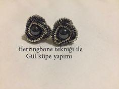 Rose Earrings, Bead Earrings, Beading Tutorials, Beading Patterns, Bridal Jewelry, Beaded Jewelry, Earrings Handmade, Handmade Jewelry, Herringbone Stitch