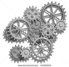 stock photo : clockwork gears isolated on white
