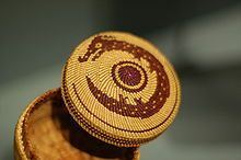 Nuu-chah-nulth basket about 2-inches wide. The Nuu-chah-nulth and other Pacific Northwest cultures are famous for their potlatch ceremonies, in which the host honours guests with generous gifts. The term 'potlatch' is ultimately a word of Nuu-chah-nulth origin. The purpose of the potlatch is manifold: redistribution of wealth, maintenance conference and recognition of social status, cementing alliances, the celebration and solemnization of marriage, and commemoration of important events.